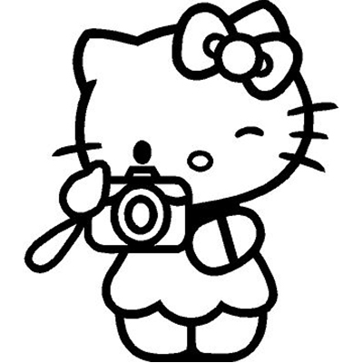 Hello Kitty Camera Photo Picture Vinyl Sticker for your wall, car or truck.