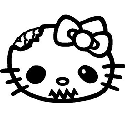 Hello Kitty Zombie Head Vinyl Decal Sticker for your wall, car or truck.