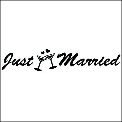Just Married Vinyl Sticker for your wall, car or truck.