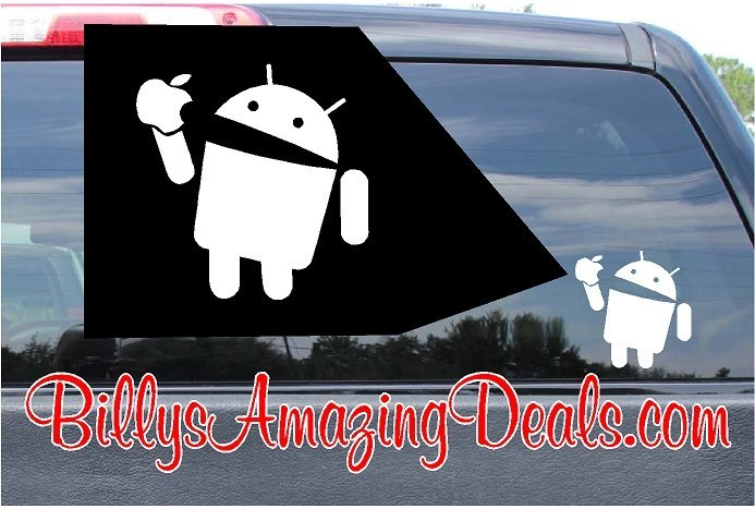 Android eating apple iphone sticker decal