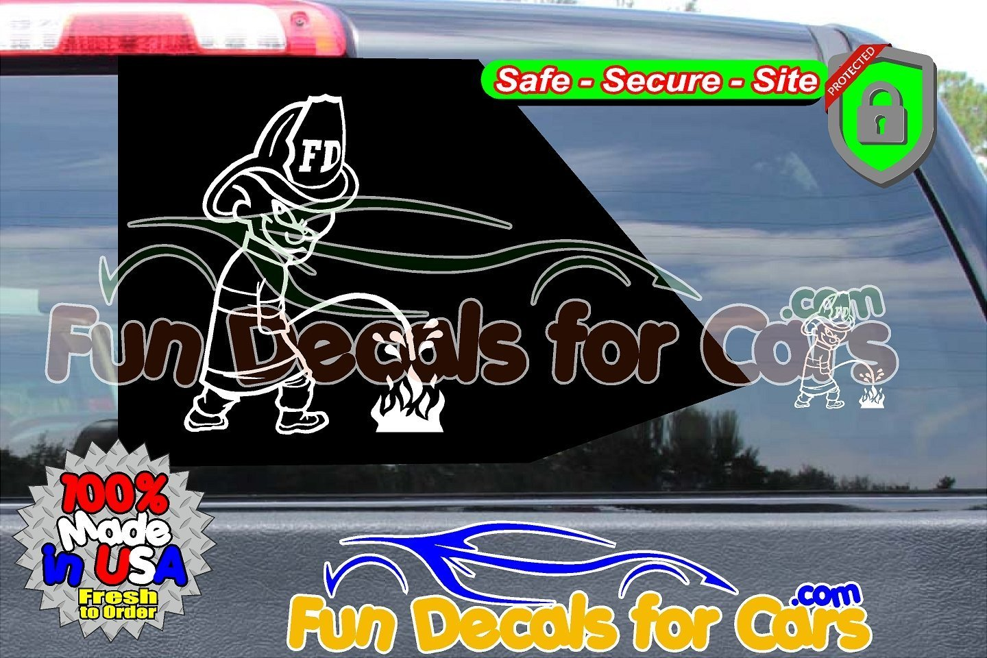 Calvin Fireman Pee on Fire Sticker Vinyl Die Cut Decal