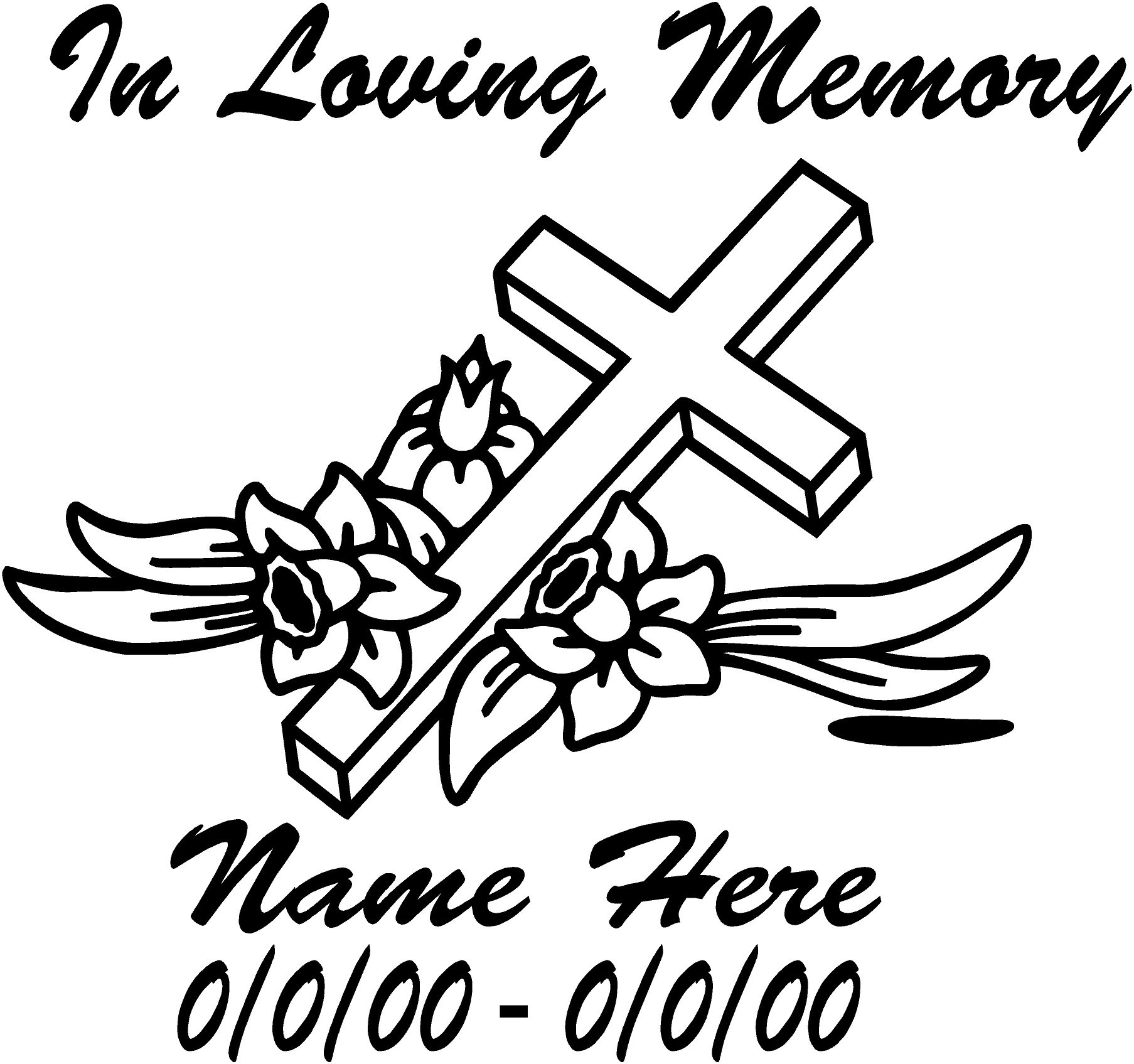 In Loving Memory Cross Decals