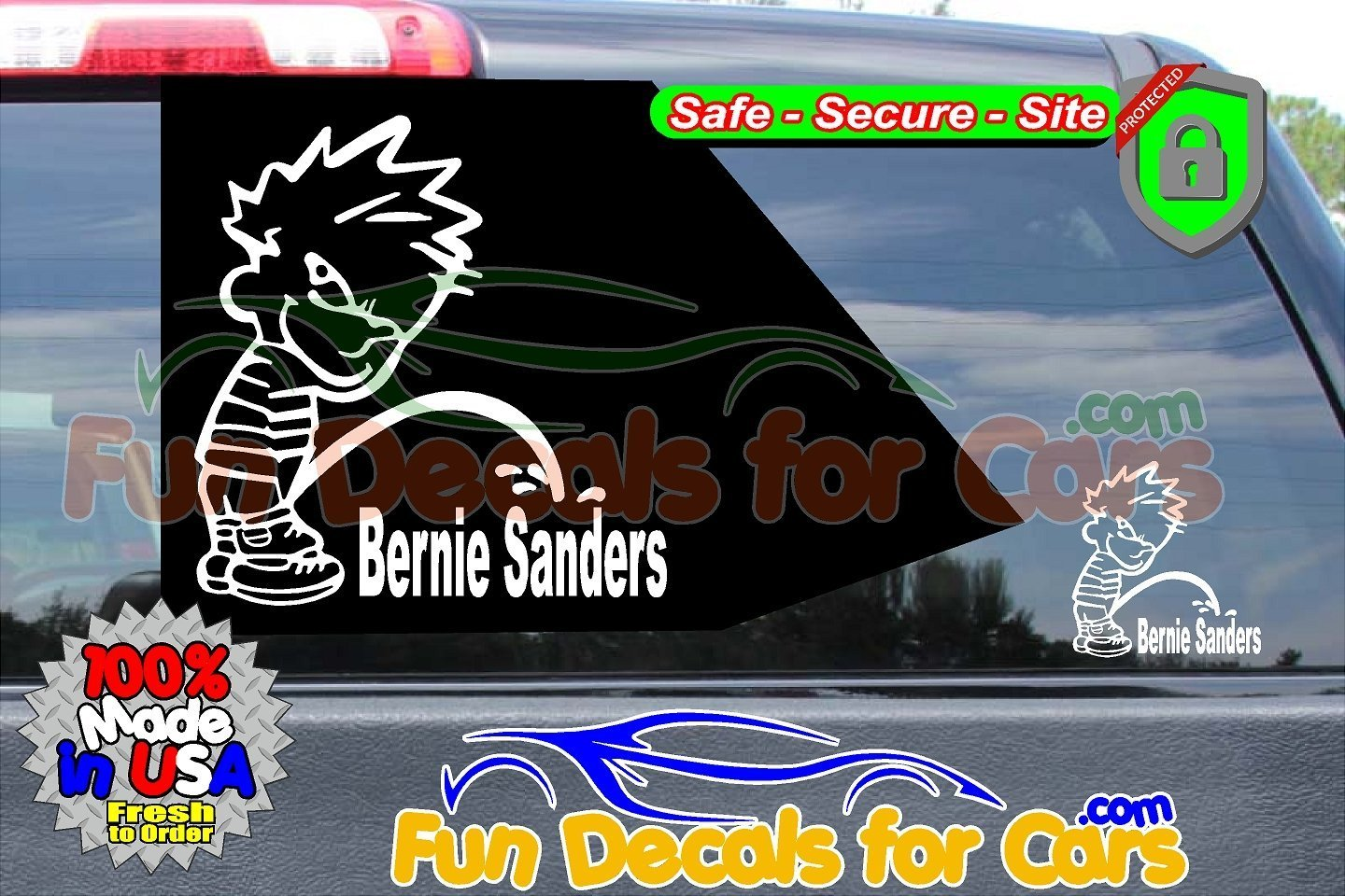 Calvin Peeing On Bernie Sanders Sticker Vinyl Die Cut Decal