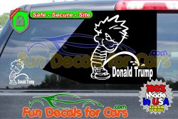 Calvin Pissing On Donald Trump Sticker Vinyl Die Cut Decal