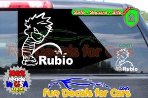 Calvin Peeing On Rubio Sticker Vinyl Die Cut Decal