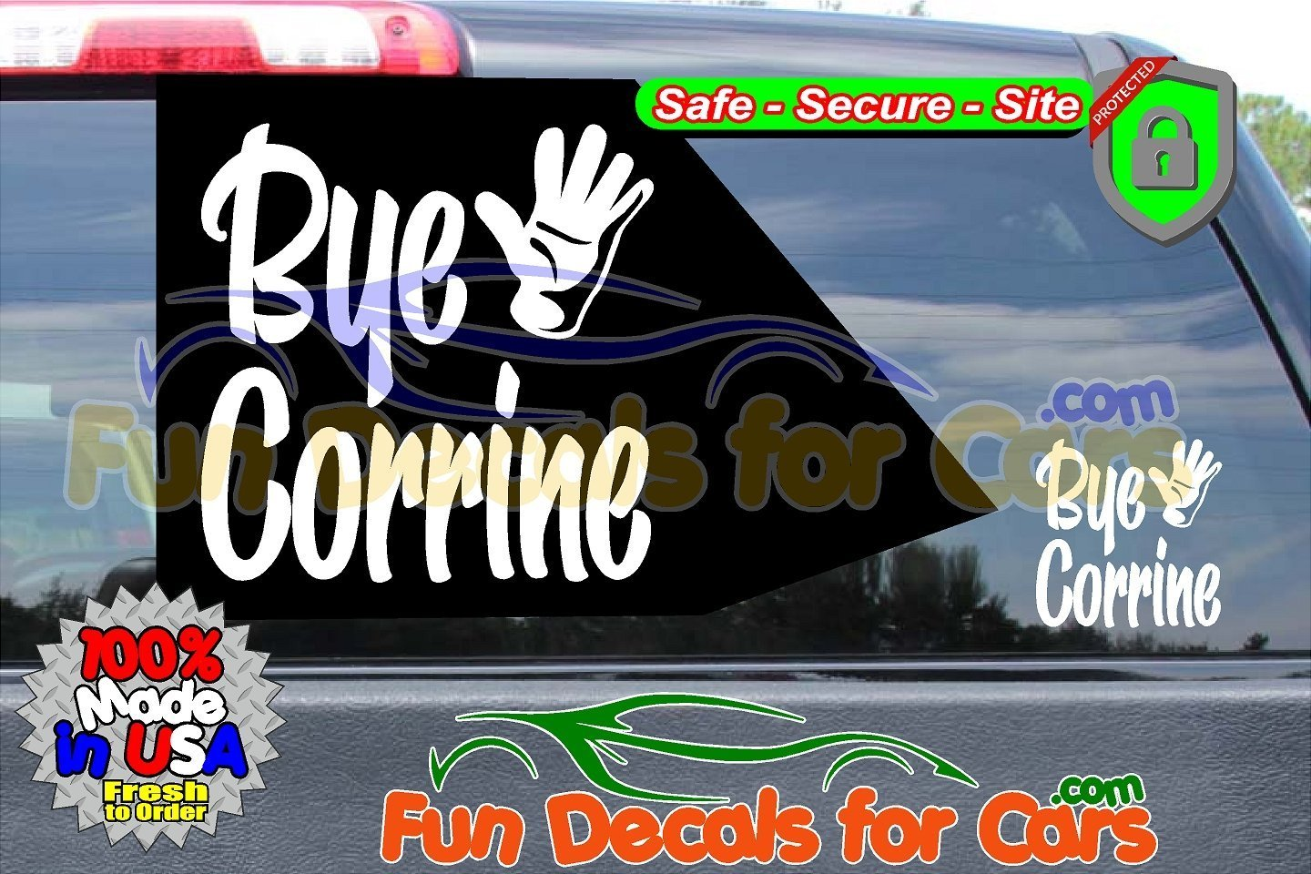 Bye Corrine Decal Waiving Hand Vinyl Sticker Dice Cut