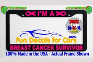 Breast Cancer Survivor License Plate Frame Black