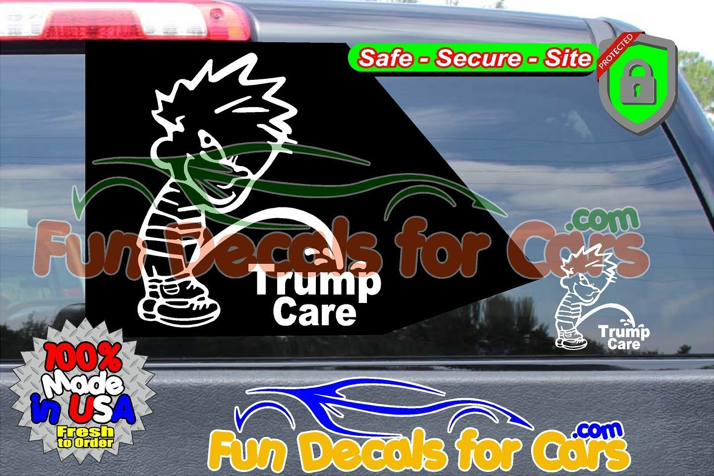 Calvin Peeing on Trump Care Vinyl Decal Die Cut Sticker