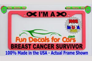 Breast Cancer Survivor License Plate Frame Pink