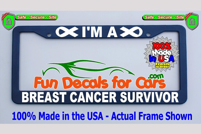 Breast Cancer Survivor License Plate Frame Royal Blue