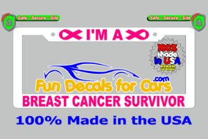Breast Cancer Survivor License Plate Frame White