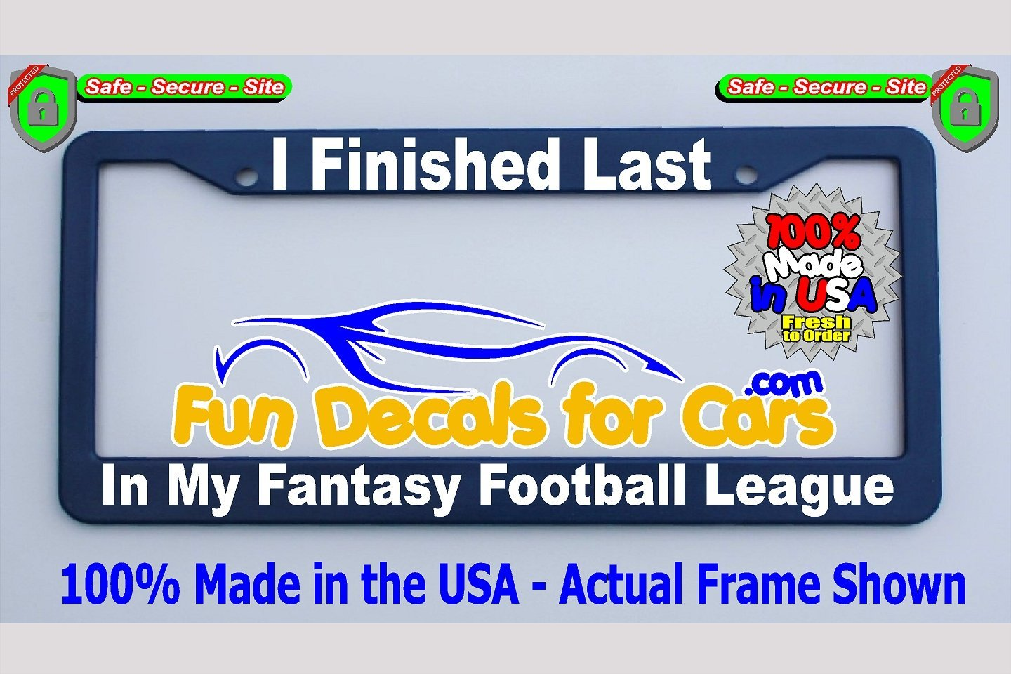 Finished Last Fantasy Football League License Plate Frame Royal Blue